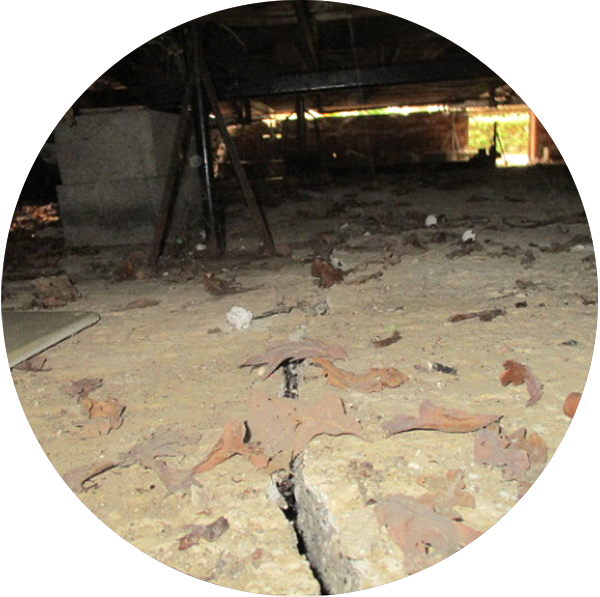 Damage to the base caused by movement and subsidence.