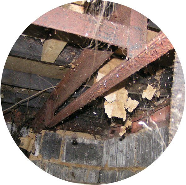 The main supports under this home have corroded and failed and consequently the home is resting on the skirt. The skirt is not designed or capable of supporting the home and if it fails, serious damage to the home could occur and possible injury to any occupants.